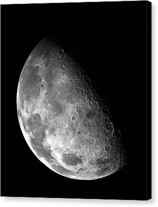Earth's Moon In Black And White Canvas Print by Jennifer Rondinelli Reilly - Fine Art Photography
