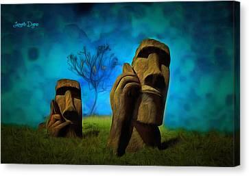 Easter Island - Da Canvas Print by Leonardo Digenio