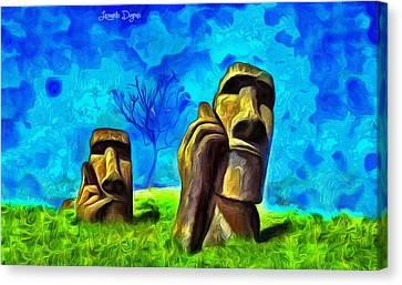 Easter Island - Van Gogh Style - Pa Canvas Print by Leonardo Digenio