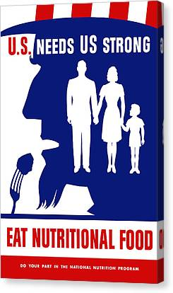 Uncle Sam - Eat Nutritional Food Canvas Print by War Is Hell Store