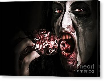 Eat Your Heart Out. Zombie Eating Bloody Heart Canvas Print by Jorgo Photography - Wall Art Gallery