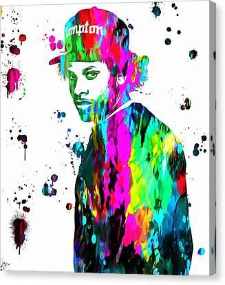 Eazy E Paint Splatter Canvas Print by Dan Sproul