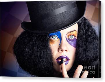 Eccentric Mad Fashion Hatter In Colourful Makeup Canvas Print by Jorgo Photography - Wall Art Gallery