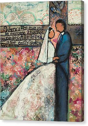 Ecclesiastes 4 12 Wedding Art Canvas Print by Jen Norton