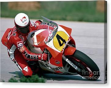 Eddie Lawson. 1984 Nations Motorcycle Grand Prix Canvas Print by Oleg Konin