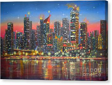 Edmonton By Night Canvas Print by Mohamed Hirji