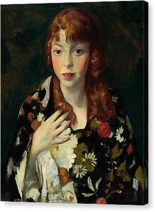 Edna Smith In A Japanese Wrap Canvas Print by Robert Henri