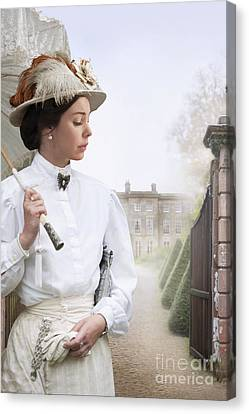 Edwardian Woman At The Approach To A Mansion House  Canvas Print by Lee Avison