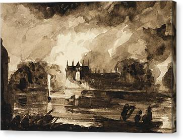 Effect For Newstead Abbey Canvas Print by Thomas Cole