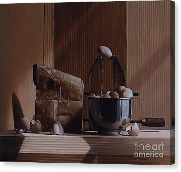 Eggs And Cardboard Canvas Print by Larry Preston
