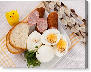 Eggs With Bread And Sausage Easter Food  Canvas Print by Arletta Cwalina