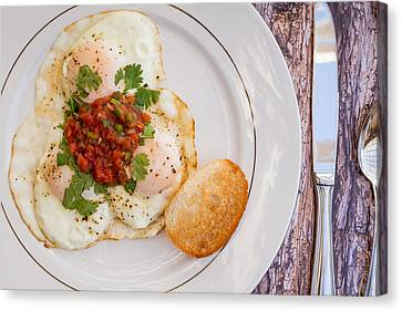 Eggs With Salsa And Toast #1 Canvas Print by Jon Manjeot
