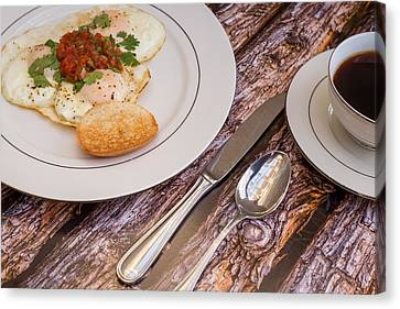 Eggs With Salsa And Toast #2 Canvas Print by Jon Manjeot