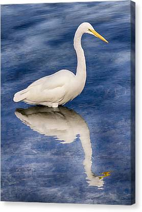 Egret Reflection On Blue Canvas Print by Bob Slitzan
