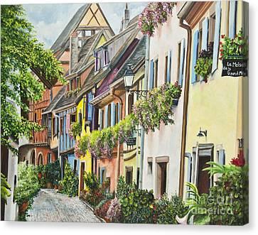 Eguisheim In Bloom Canvas Print by Charlotte Blanchard