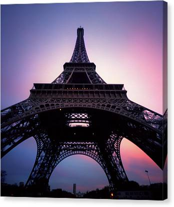 Eiffel Tower At Sunset Canvas Print by Zeb Andrews