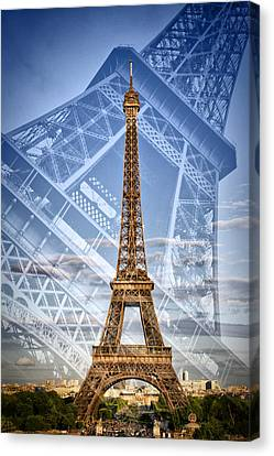 Eiffel Tower Double Exposure II Canvas Print by Melanie Viola