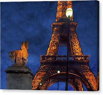 Eiffel Tower - Night Canvas Print by Nikolyn McDonald