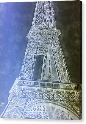 Eiffil Tower Inverted Canvas Print by Irving Starr
