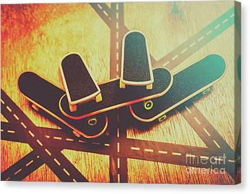 Eighties Street Skateboarders Canvas Print by Jorgo Photography - Wall Art Gallery