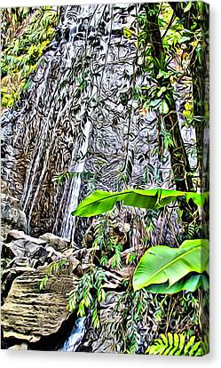 El Yuque Waterfall Canvas Print by Carey Chen