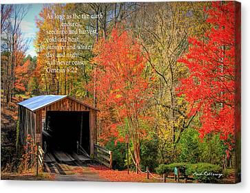 Elder Mill Covered Bridge 2 Scripture Canvas Print by Reid Callaway