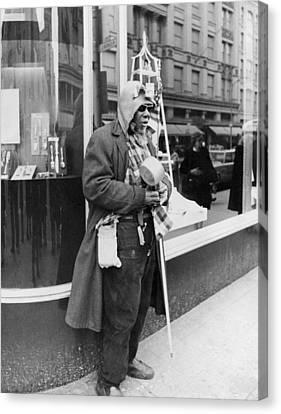Elderly Blind Man Beggar Canvas Print by Underwood Archives