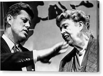 Eleanor Roosevelt And Sen. John Kennedy Canvas Print by Everett