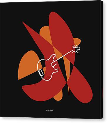 Electric Bass In Orange Red Canvas Print by Jazz DaBri