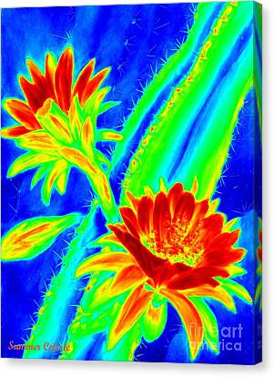 Electric Night Bloomer  Canvas Print by Summer Celeste