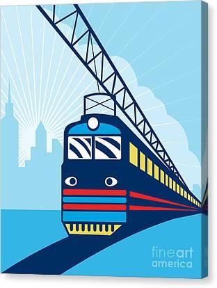 Electric Passenger Train Canvas Print by Aloysius Patrimonio