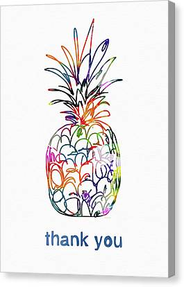 Electric Pineapple Thank You Card- Art By Linda Woods Canvas Print by Linda Woods