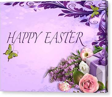 Elegant Easter Card Canvas Print by Debra     Vatalaro