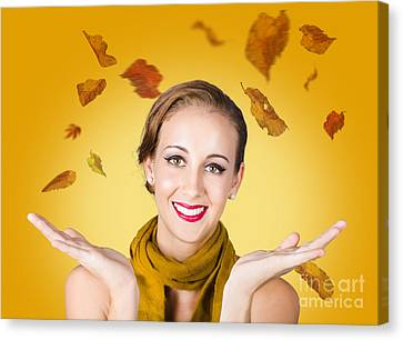 Elegant Female Model Catching Autumn Leaves Canvas Print by Jorgo Photography - Wall Art Gallery