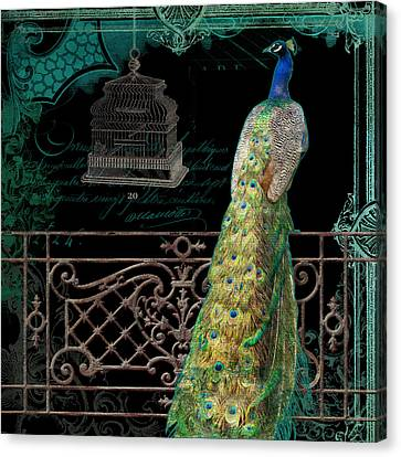 Elegant Peacock Iron Fence W Vintage Scrolls 4 Canvas Print by Audrey Jeanne Roberts