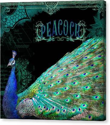 Elegant Peacock W Vintage Scrolls Typography 4 Canvas Print by Audrey Jeanne Roberts