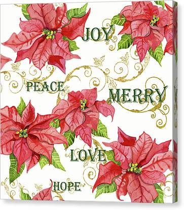 Elegant Poinsettia Floral Christmas Love Joy Peace Merry Hope Typography Swirl Canvas Print by Audrey Jeanne Roberts