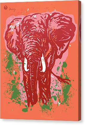 Elehpant Pop Art Etching Poster  Canvas Print by Kim Wang