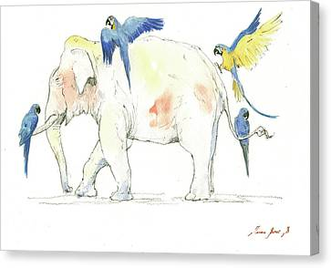 Elephant And Parrots Canvas Print by Juan Bosco