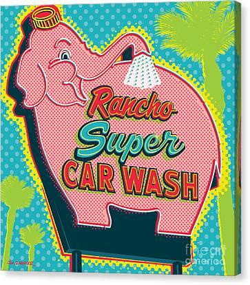 Elephant Car Wash - Rancho Mirage - Palm Springs Canvas Print by Jim Zahniser