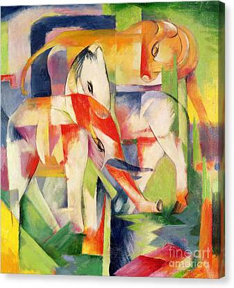 Elephant Horse And Cow Canvas Print by Franz Marc