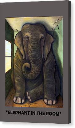Elephant In The Room With Lettering Canvas Print by Leah Saulnier The Painting Maniac