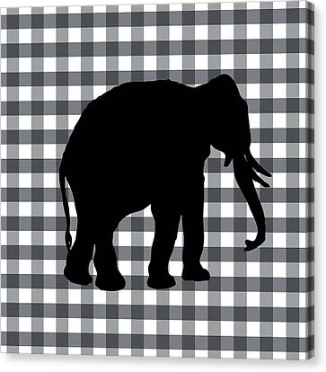 Elephant Silhouette Canvas Print by Linda Woods