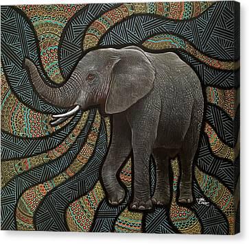 Elephant Zen Canvas Print by Julie Oakes