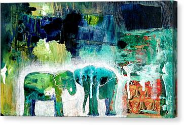 Elephants 2 Canvas Print by Jenn Ashton