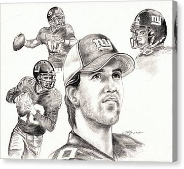 Eli Manning Canvas Print by Kathleen Kelly Thompson