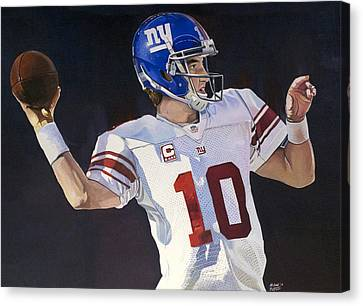 Eli Manning New York Giants Canvas Print by Michael  Pattison