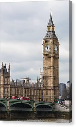 Elizabeth Tower And The Westminster Bridge Canvas Print by AMB Fine Art Photography