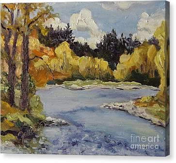 Elk River Fall Steamboat Springs Colorado Canvas Print by Zanobia Shalks