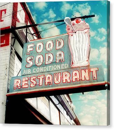 Elliston Place Soda Shoppe - Square Crop Canvas Print by Amy Tyler